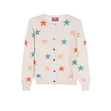 Buy Mango Kids Girls' Long Sleeve Star Cardigan, Beige Online at johnlewis.com