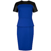Buy Ted Baker Peplum Leather Trim Dress, Bright Blue Online at johnlewis.com