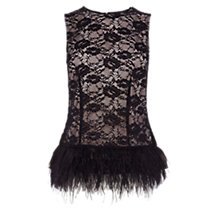 Buy Coast Freya Feather Lace Top, Black Online at johnlewis.com