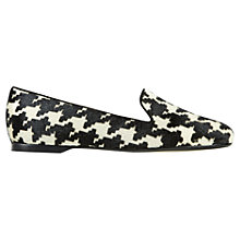 Buy Hobbs Audrey Houndstooth Print Flat Shoes, Black/White Online at johnlewis.com