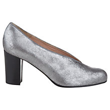 Buy NW3 by Hobbs Mable Block Heel Leather Court Shoes, Pewter Online at johnlewis.com