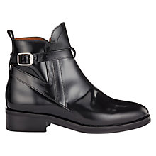 Buy Whistles Hana Leather Low Block Heel Jodhpur Ankle Boots, Black Online at johnlewis.com
