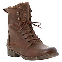 Buy Dune Purr Faux Fur Lined Leather Calf Boots, Brown Online at johnlewis.com