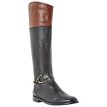 Buy Dune Taffey Leather Buckle Knee High Boots, Black / Tan Online at johnlewis.com
