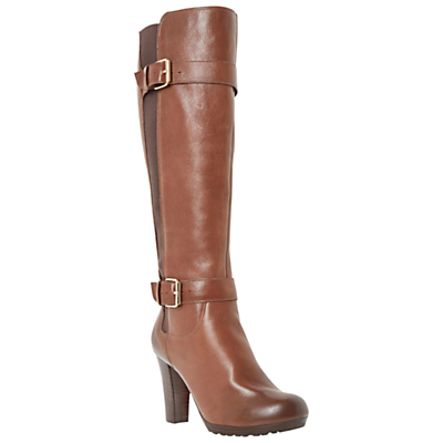 Dune Social Knee-High Leather Buckle Detail Boots