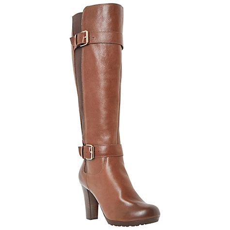 buy dune social knee high leather buckle detail boots