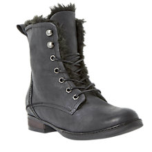 Buy Dune Purr Faux Fur Lined Leather Calf Boots, Black Online at johnlewis.com