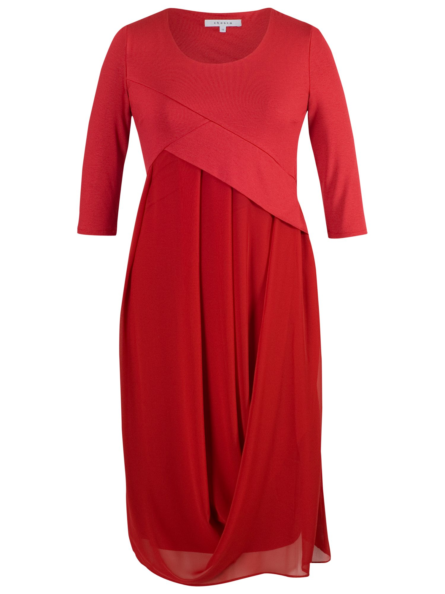 chesca jersey/chiffon 3/4 sleeves dress red, chesca, jersey/chiffon, 3/4, sleeves, dress, red, 18|22|20|16|14|12, women, plus size, womens dresses, gifts, valentines day, red dress, 1655851