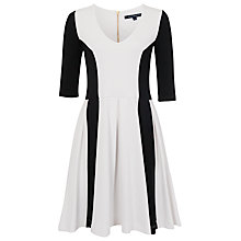 Buy French Connection Abney Jersey Flare Dress, White/Black Online at johnlewis.com