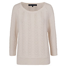 Buy French Connection Wonky Wave 3/4 Sleeve Jumper, White Hare Online at johnlewis.com