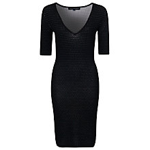 Buy French Connection Danni V Neck Dress, Black / Winter White Online at johnlewis.com