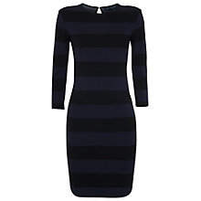 Buy French Connection Manhattan Winter Stripe Dress, Black / Utility Blue Online at johnlewis.com