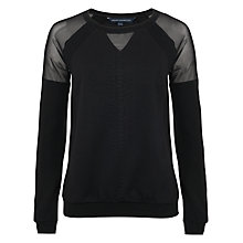 Buy French Connection Milly Mesh Jersey Long Sleeve Jumper, Black Online at johnlewis.com