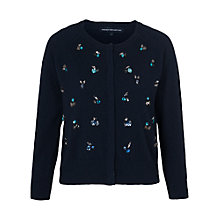 Buy French Connection Opal Bright Knits Roundneck Cardigan, Utility Blue Online at johnlewis.com