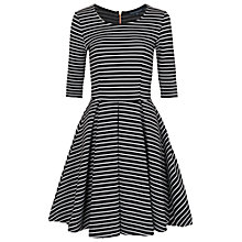 Buy French Connection Winter Stripe Floral Dress, Black / White Online at johnlewis.com