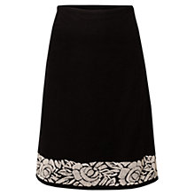 Buy East Embroidered Cord Skirt, Black Online at johnlewis.com