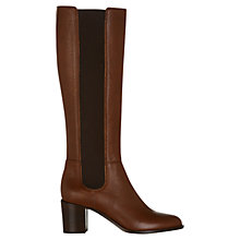Buy Hobbs Lilie Leather Slip On Long Boots, Brown Online at johnlewis.com