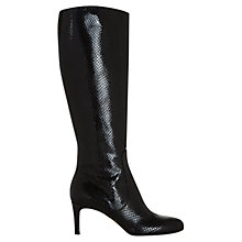 Buy Hobbs Nina Long Leather Boots, Black Online at johnlewis.com