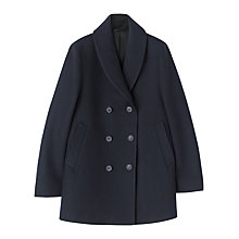 Buy Jigsaw Wool Melton Shawl Collar Pea Coat, Navy Online at johnlewis.com