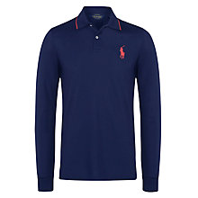 Buy Polo Golf by Ralph Lauren Custom Fit Tournament Long Sleeve Polo Shirt, French Navy Online at johnlewis.com