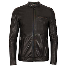 Buy Ted Baker Visery Leather Biker Jacket, Black Online at johnlewis.com