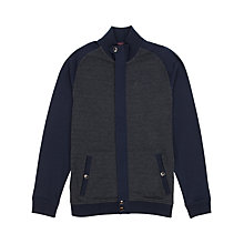 Buy Ted Baker Jensill Herringbone Zip Through Cardigan, Navy Online at johnlewis.com