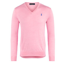 Buy Polo Golf by Ralph Lauren Wool V-Neck Jumper, Hampton Pink Online at johnlewis.com