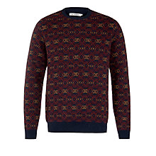 Buy Ben Sherman Jacquard Crew Neck Jumper, Navy/Multi Online at johnlewis.com