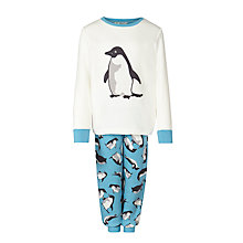 Buy John Lewis Boy Monty & Mabel Long Sleeve Jersey Pyjamas, Cream/Blue Online at johnlewis.com