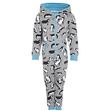 Buy John Lewis Boy Monty & Mabel Hooded Onesie, Grey Online at johnlewis.com