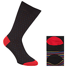 Buy John Lewis Stripe and Dot Egyptian Cotton Socks, Pack of 2, Black/Multi Online at johnlewis.com