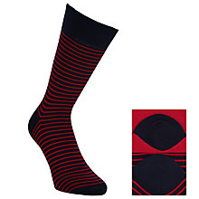 Buy John Lewis Stripe Pattern Socks, Pack of 2, Navy/Red Online at johnlewis.com
