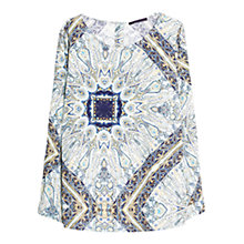Buy Violeta by Mango Mosaic Print Blouse, Blue/White Online at johnlewis.com