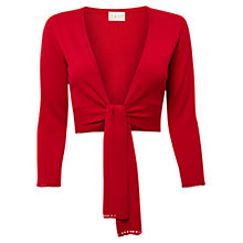 Buy East Crochet Trim Shrug, Scarlet Online at johnlewis.com