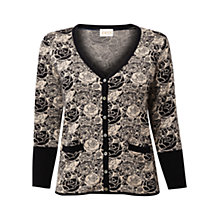 Buy East Rose Jacquard Cardigan, Black Online at johnlewis.com