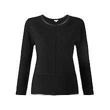 Buy Jigsaw Leather Trim Jumper, Black Online at johnlewis.com