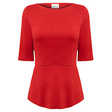 Buy East Peplum Jersey Top, Scarlet Online at johnlewis.com