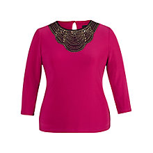 Buy Chesca Embellished Jersey Top, Fuchsia Online at johnlewis.com