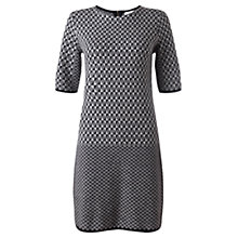 Buy Jigsaw Geometric Knit Shift Dress, Grey Online at johnlewis.com