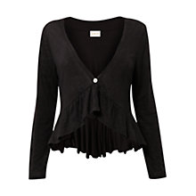 Buy East Frill Hem Cardigan, Black Online at johnlewis.com
