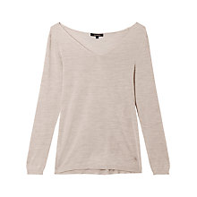 Buy Gérard Darel Pure Silk Knitted V-Neck Jumper, Beige Online at johnlewis.com