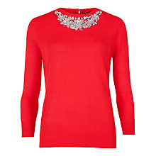 Buy Ted Baker Embellished Neckline Jumper, Bright Red Online at johnlewis.com