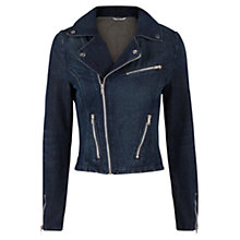 Buy Mango Denim Biker Jacket, Navy Online at johnlewis.com