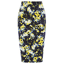 Buy Warehouse Dark Abstract Floral Pencil Skirt, Multi Online at johnlewis.com