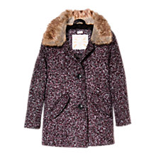 Buy Mango Kids Girls' Faux Fur Trim Boucle Coat, Maroon Online at johnlewis.com