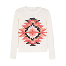 Buy Mango Kids Girls' Jacquard Pattern Jumper, White/Multi Online at johnlewis.com