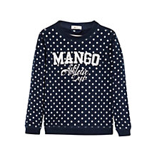 Buy Mango Kids Girls' Long Sleeve Logo Spot Jumper, Navy Online at johnlewis.com