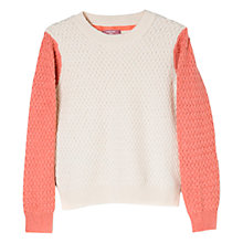 Buy Mango Kids Girls' Textured Contrast Sleeve Jumper Online at johnlewis.com