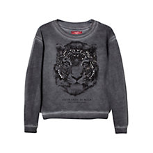 Buy Mango Kids Diamante Embellished Animal Sweatshirt, Grey Online at johnlewis.com