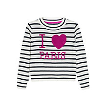 Buy Mango Kids Girls' Merino-Blend Stripe Jumper, White Online at johnlewis.com